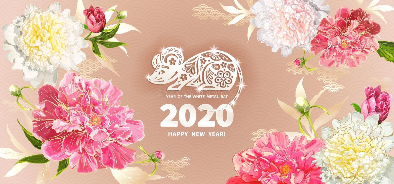 2020 rok szczur royalty ilustracja
