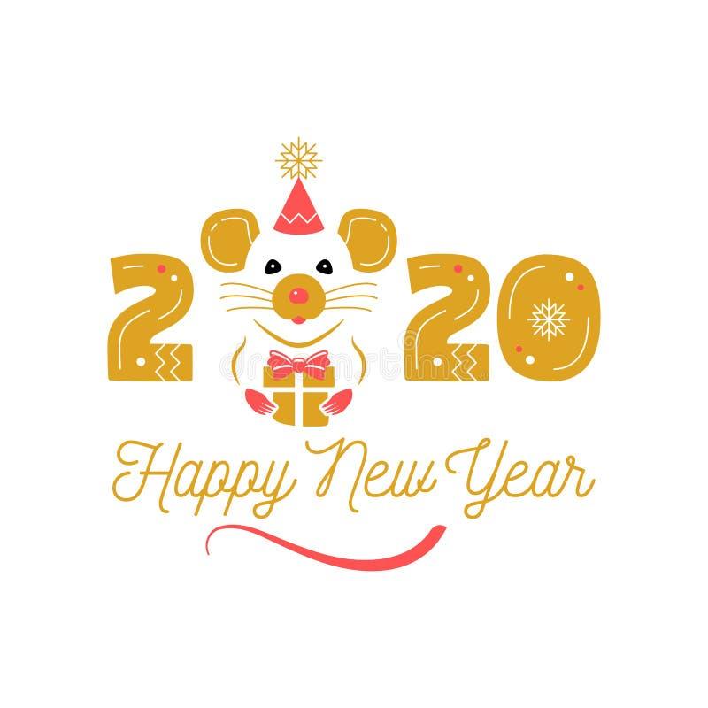 Rok szczura 2020 Chiński zodiak Szcz??liwy nowego roku kartka z pozdrowieniami Śliczny szczur i data 2020 rok Elegancki wektor ilustracji