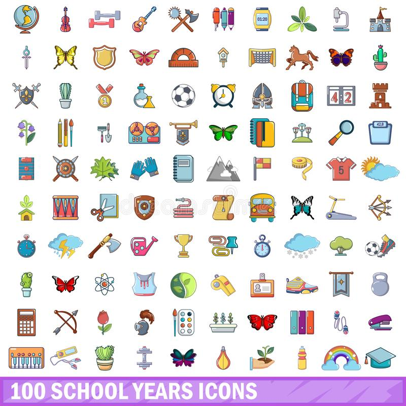 100 rok szkolny ikon ustawiać, kreskówka styl royalty ilustracja
