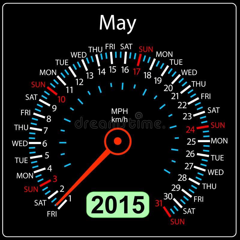 2015 rok szybkościomierza kalendarzowy samochód w wektorze. Maj. ilustracja wektor
