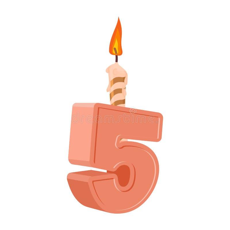 5 rok urodzinowych Liczba z świąteczną świeczką dla wakacje torta f ilustracji