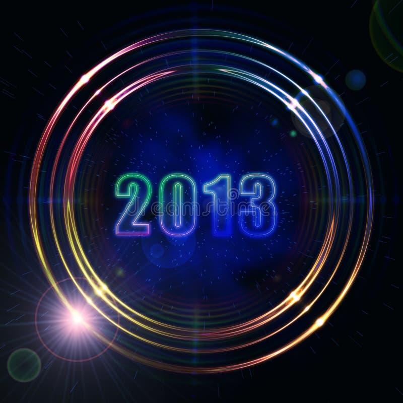 Rok w złotych jaśnienie pierścionkach 2013 royalty ilustracja