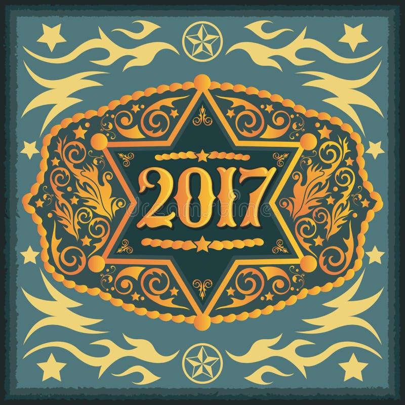 2017 rok zachodnia kowbojska pasowa klamra z szeryf odznaką ilustracja wektor