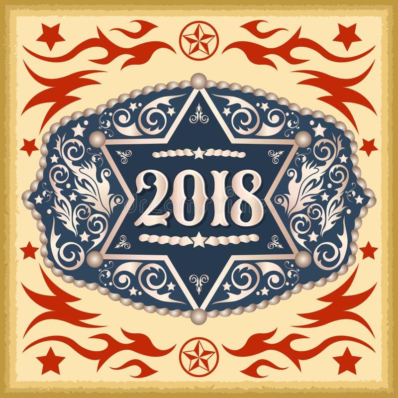2018 rok zachodnia kowbojska pasowa klamra z szeryf odznaką ilustracji