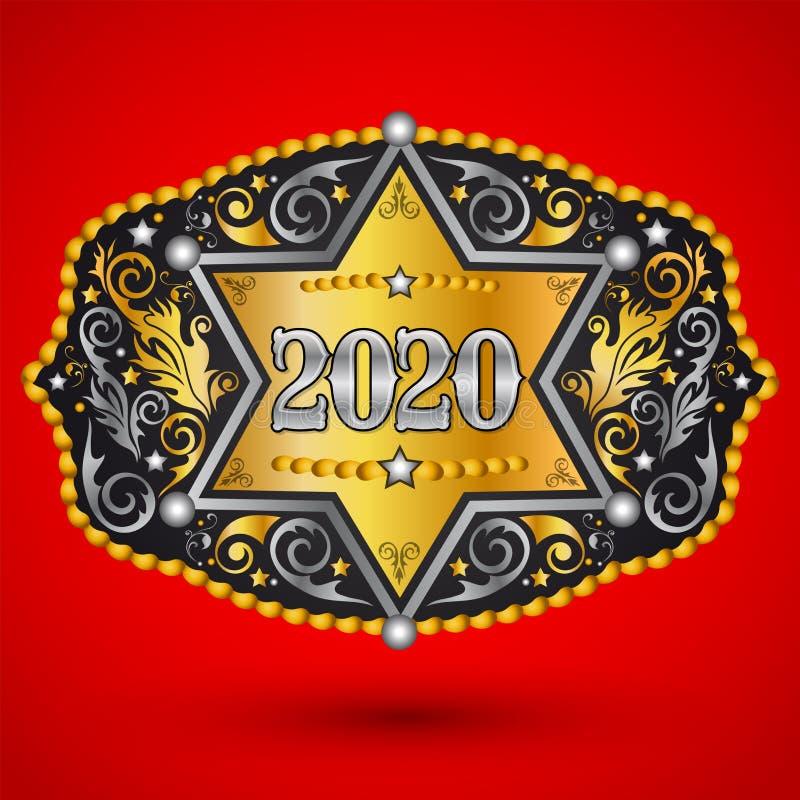2020 rok Zachodnia Kowbojska pasowa klamra z szeryf odznaką royalty ilustracja