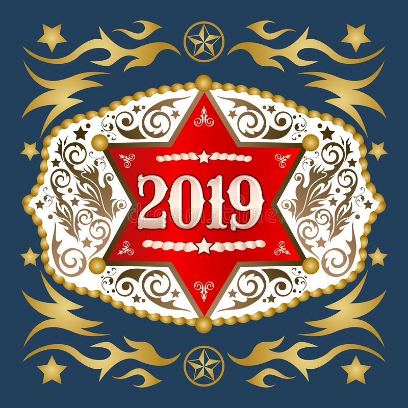 2019 rok zachodnia kowbojska pasowa klamra z szeryf odznaki wektorowym projektem ilustracja wektor