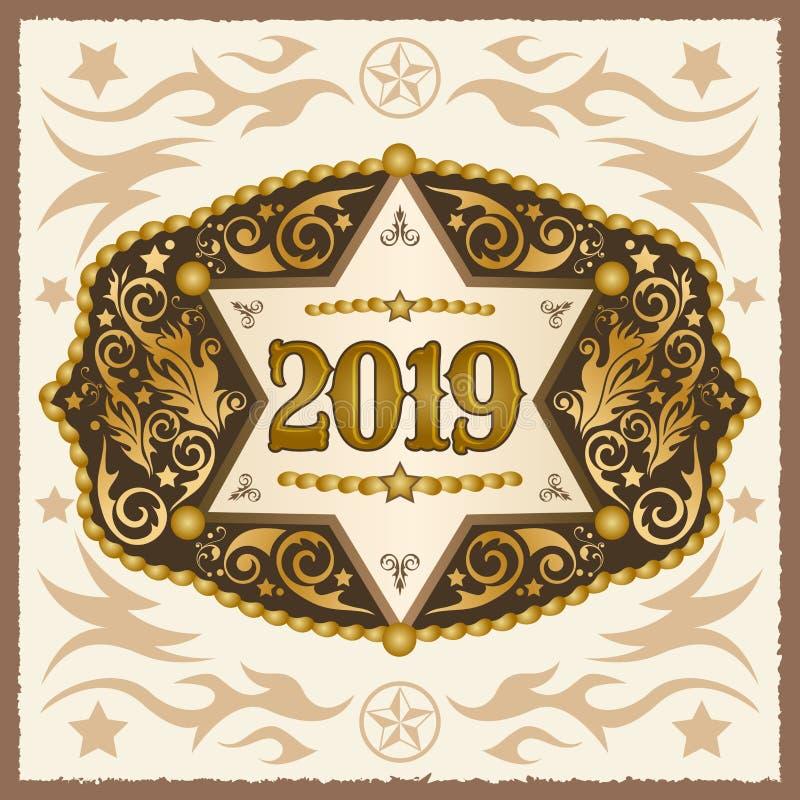 2019 rok zachodnia kowbojska pasowa klamra z szeryf odznaki wektorowym projektem royalty ilustracja