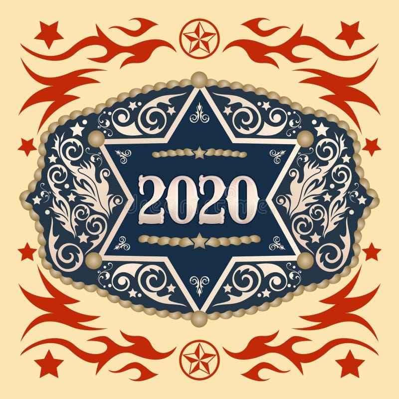 2020 rok Zachodnia Kowbojska pasowa klamra z szeryf odznaki wektorowym projektem ilustracja wektor