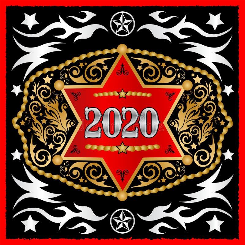 2020 rok Zachodnia Kowbojska pasowa klamra z szeryf odznaki wektorowym projektem royalty ilustracja