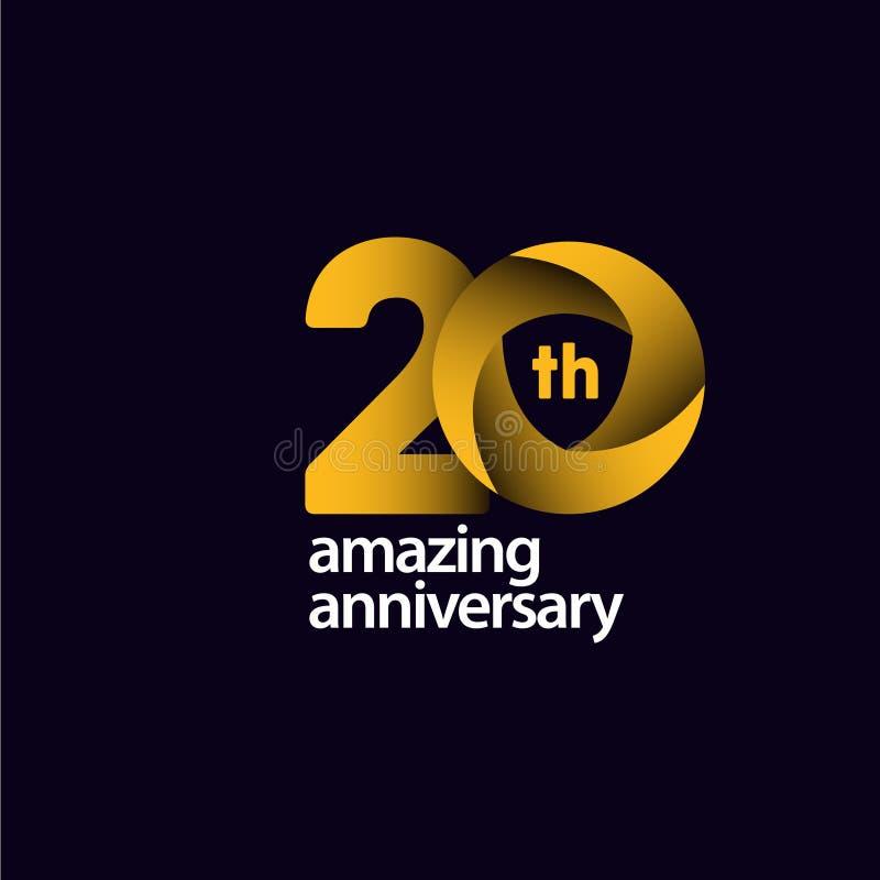 20 rok Zadziwia Rocznicowego świętowania szablonu projekta Wektorową ilustrację ilustracja wektor