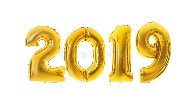 Rok 2019 zrobił złoci balony na białym tle zdjęcie stock