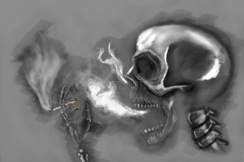 Rokend skelet stock afbeelding