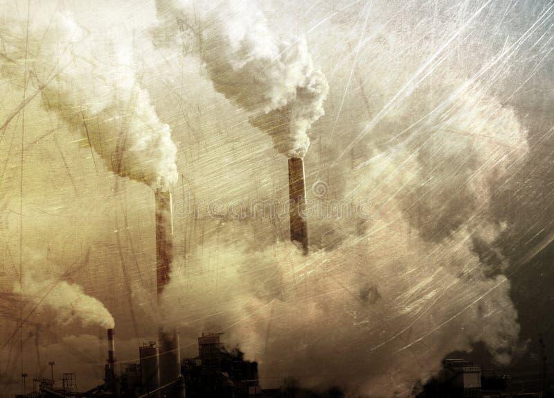Rokende fabriek grunge stock afbeelding
