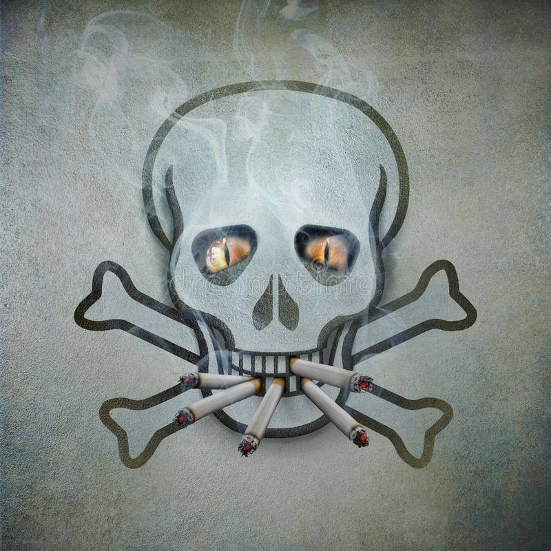 Rokende schedel vector illustratie