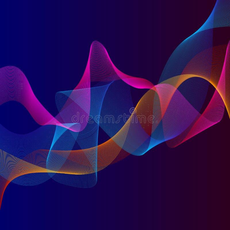 Rokerige golvenachtergrond Structureel gebogen patroon, de illustratie van de stroommotie Abstracte achtergrond, malplaatje voor  stock illustratie