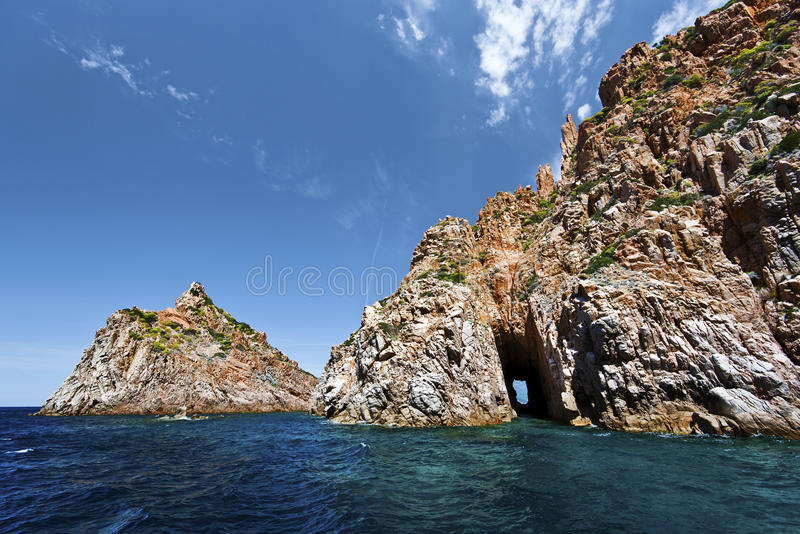 Roks Calanques de Piana in Korsika lizenzfreie stockbilder