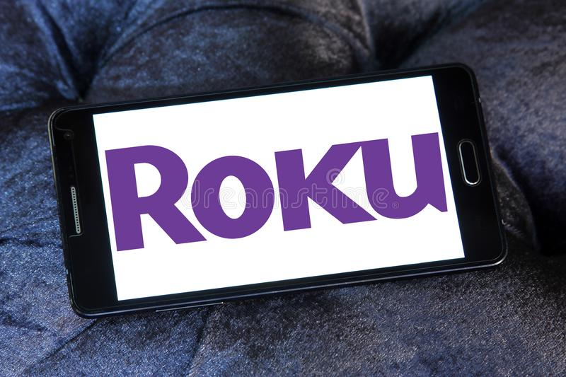 Roku company logo. Logo of Roku company on samsung mobile. Roku is an American publicly traded company that manufactures home digital media products royalty free stock photos