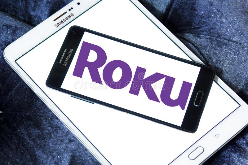 Roku company logo. Logo of Roku company on samsung mobile. Roku is an American publicly traded company that manufactures home digital media products stock images