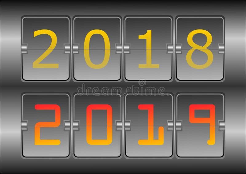 Roku cyfrowy przedstawienie 2018 i nowy rok 2019, ilustracja ilustracja wektor