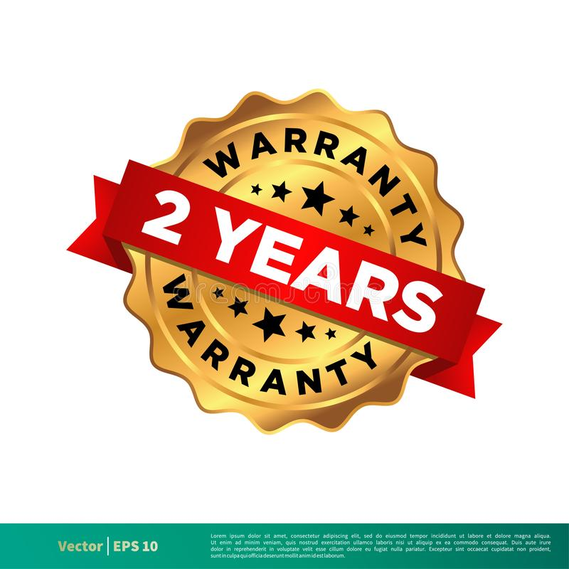 2 roku gwarancji foki znaczka Złocistego Wektorowego szablonu Ilustracyjnego projekta Wektor EPS 10 royalty ilustracja