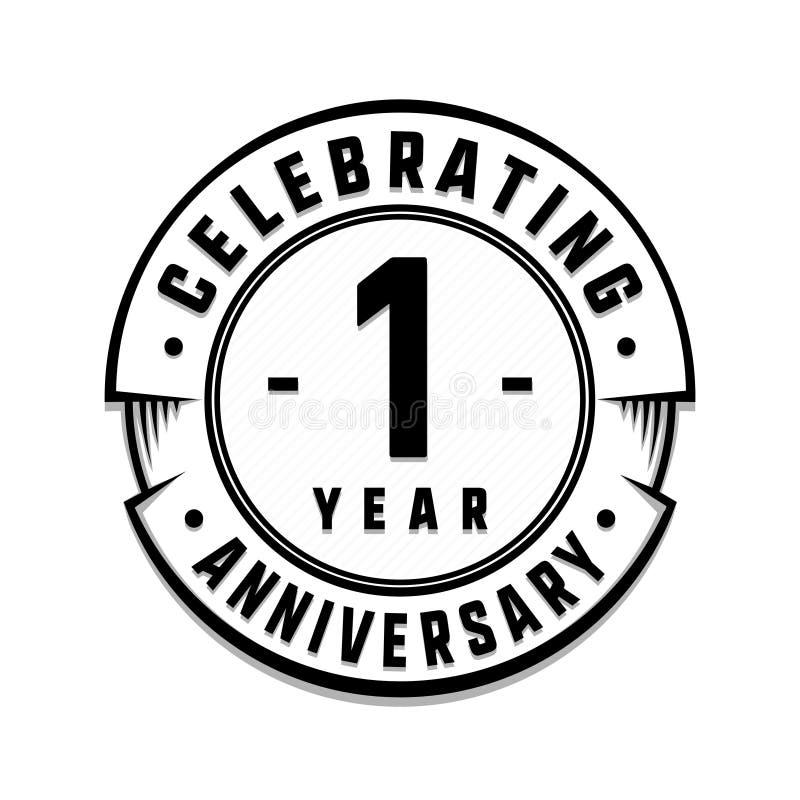 1 roku logo rocznicowy szablon 1st ilustracja i wektor ilustracja wektor