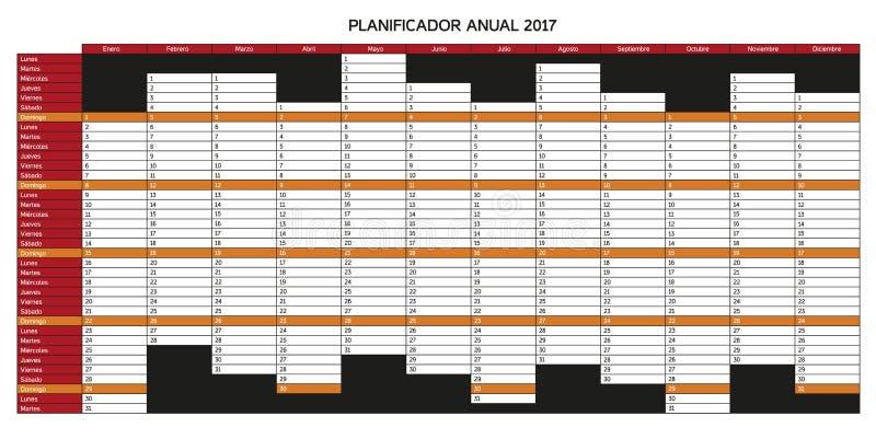 Roku planowania kalendarz dla 2017 w hiszpańszczyznach - Planificador rocznik ilustracja wektor