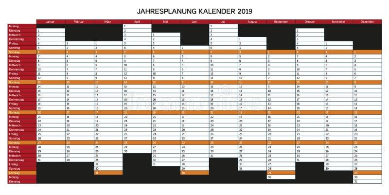 Roku planowania kalendarz dla 2019 w niemiec - Jahresplanung kalend ilustracji