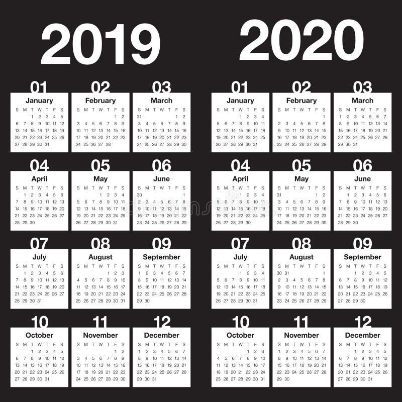Roku 2019 2020 projekta kalendarzowy wektorowy szablon fotografia stock