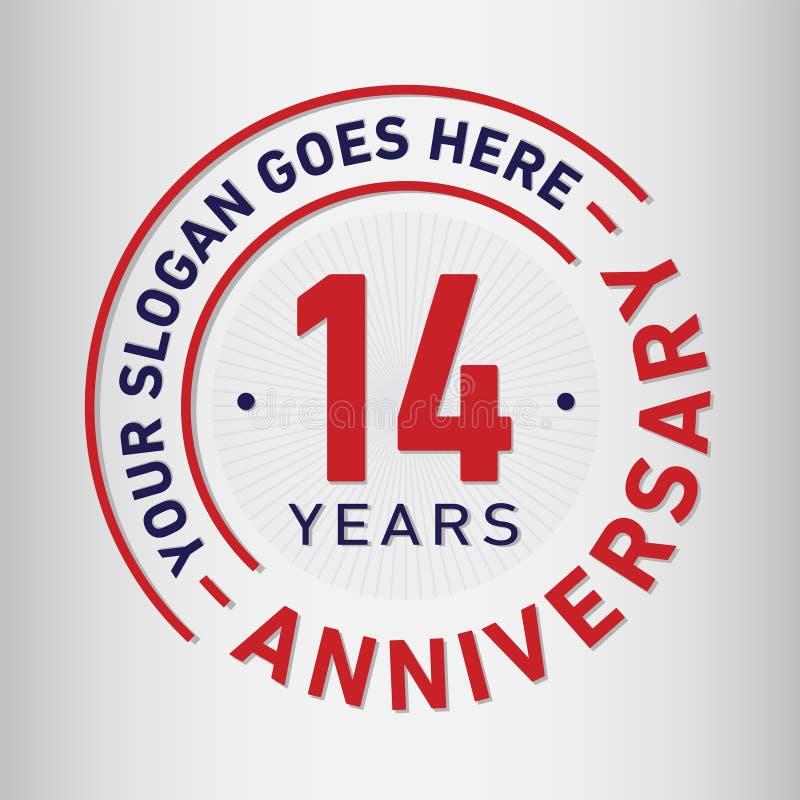14 roku Rocznicowego świętowanie projekta szablonu Rocznicowy wektor i ilustracja Czternaście rok logo royalty ilustracja