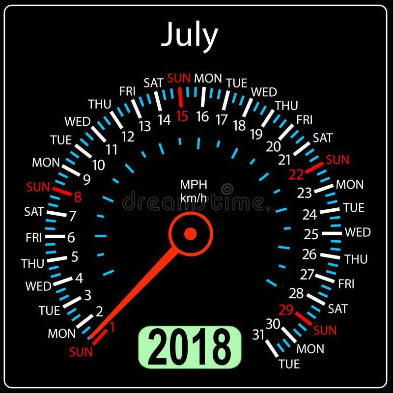 Roku 2018 szybkościomierza kalendarzowy samochód w pojęciu bigos royalty ilustracja