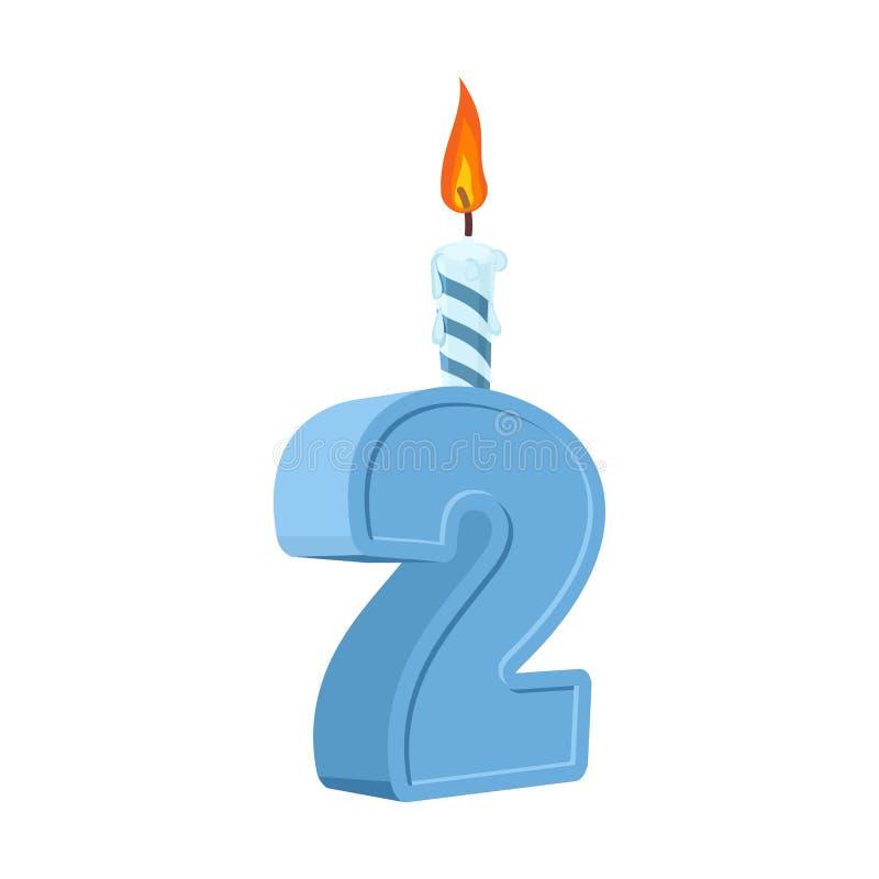 2 roku urodzinowego Liczba z świąteczną świeczką dla wakacje torta f ilustracja wektor
