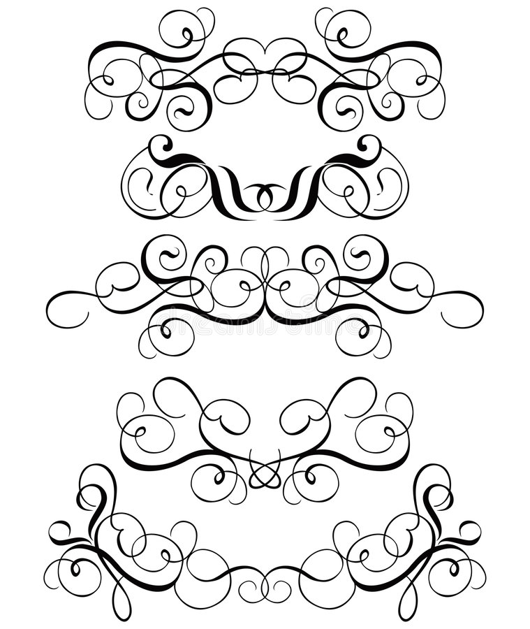 Rol, cartouche, decor, vector stock illustratie