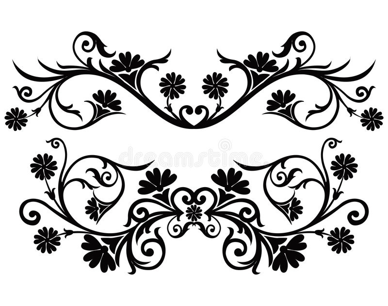 Rol, cartouche, decor, vector vector illustratie