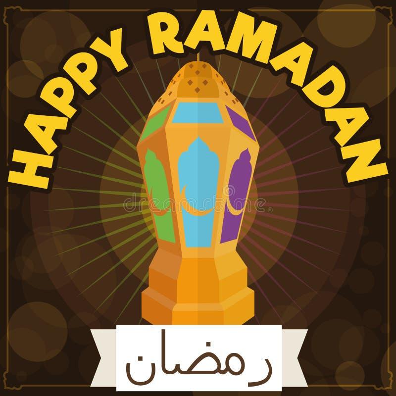 Rol en Traditionele Gouden Lantaarn die Ramadan Night, Vectorillustratie verlichten vector illustratie