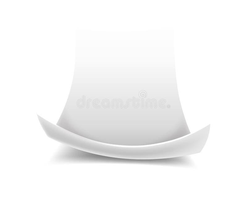 Rol leeg of leeg document blad met gekrulde rand stock illustratie