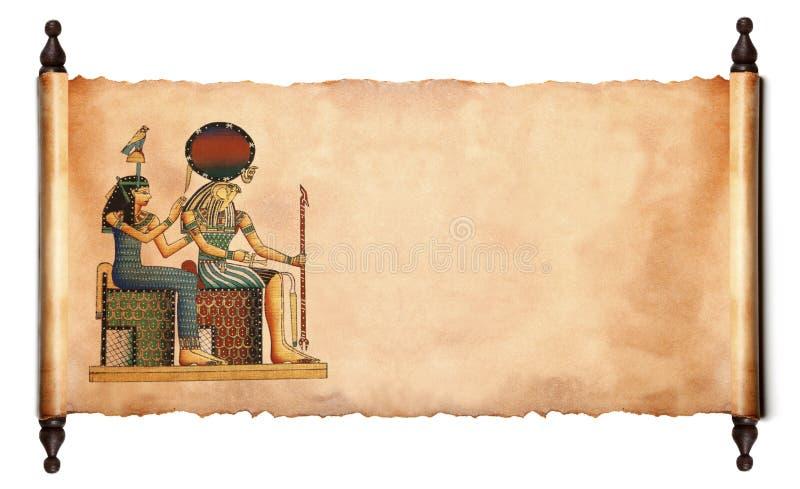 Rol met Egyptische papyrus stock afbeeldingen