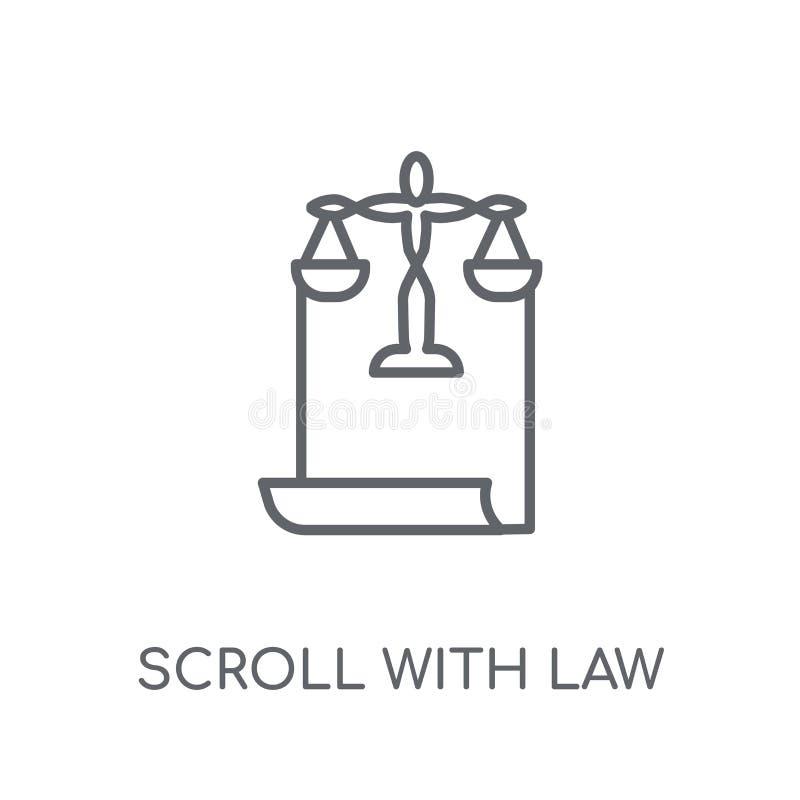 Rol met wets lineair pictogram Moderne overzichtsrol met wetsembleem royalty-vrije illustratie