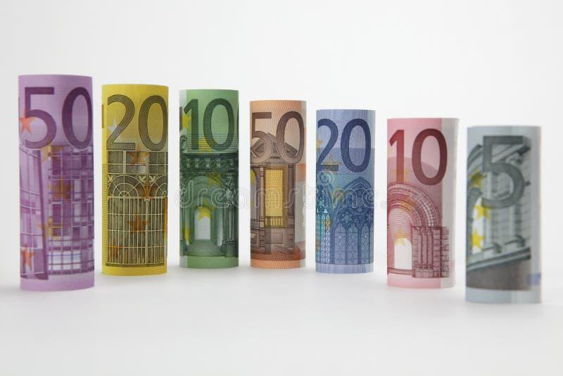 Rolado acima das euro- contas fotografia de stock royalty free