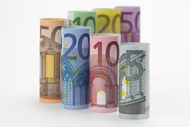Rolado acima das euro- contas foto de stock