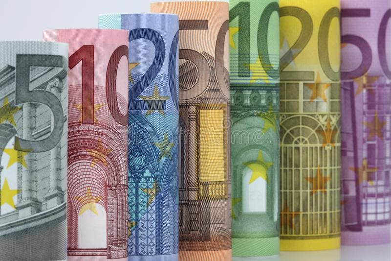Rolado acima das euro- contas fotografia de stock