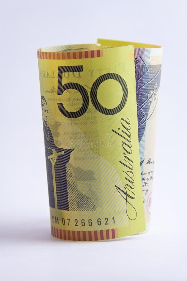 Rolado acima do Australian a nota de 50 dólares fotos de stock