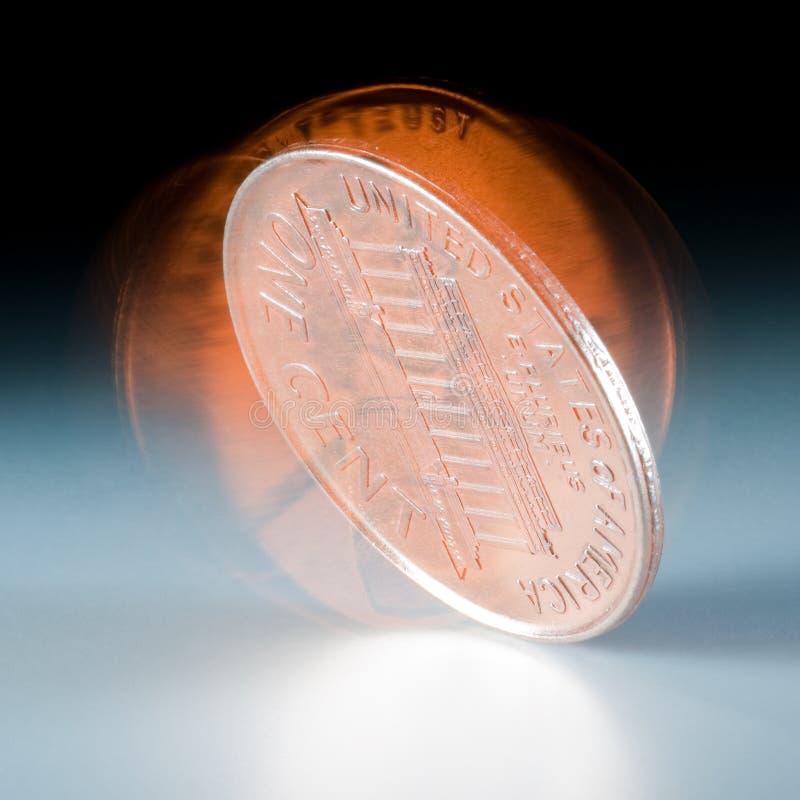 Rolamento da moeda de um centavo imagens de stock royalty free