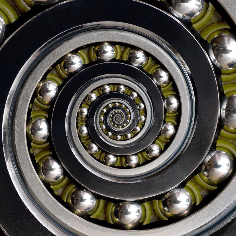 Rolamento de esferas espiral sentido horário industrial incomum específico da gaiola verde bonita Tecnologia de fabricação espira imagens de stock royalty free