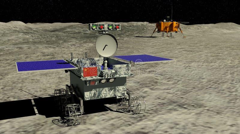Rolamento lunar de Yutu 2 do vagabundo através da superfície da lua que começa a exploração com a ponta de prova lunar do Chang e ilustração do vetor