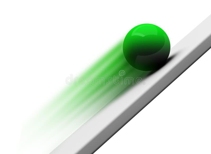 Rolamento verde 3d ascendente da esfera do cromo ilustração stock