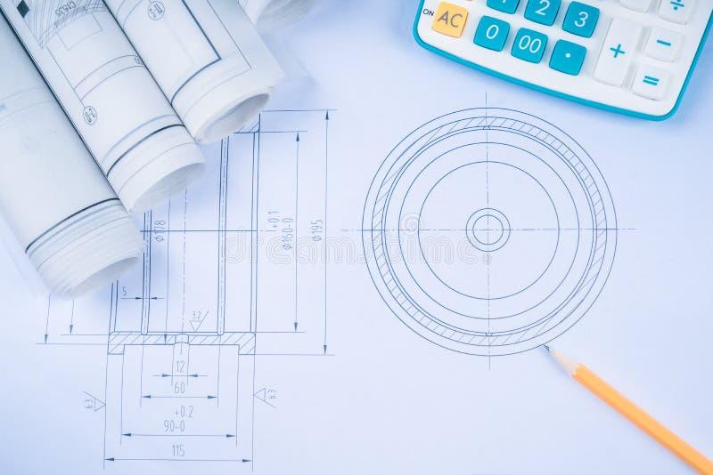 Rolamentos de rolo do compasso de calibre de corrediça dos desenhos de construção na arquitetura do modelo e no conceito da const fotografia de stock