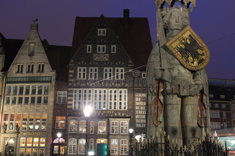 Roland in Bremen. The famous statue of Roland in Bremen at night, Germany stock photography