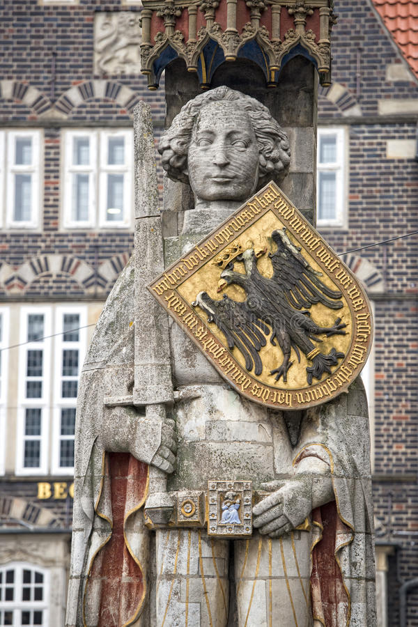 Roland bremen statue. Roland bremen giant stone statue royalty free stock images