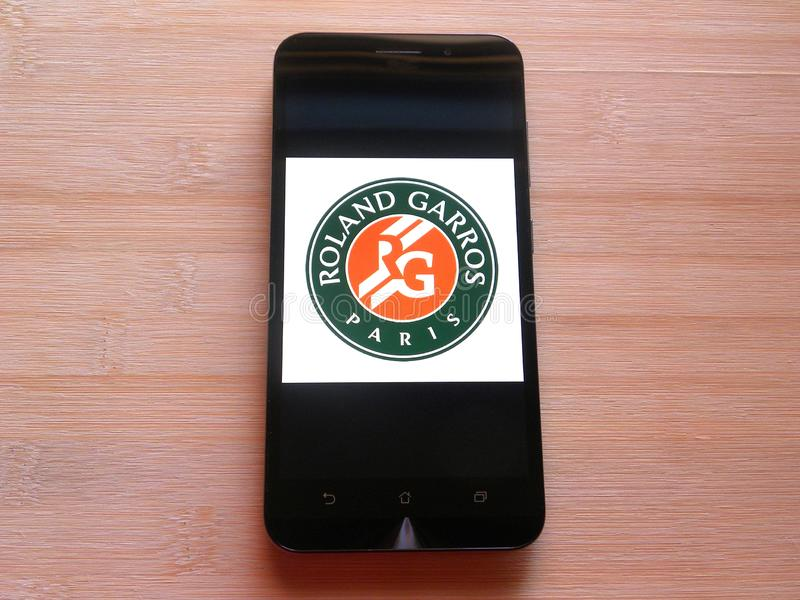 Roland-Garros app on mobile phone royalty free stock images