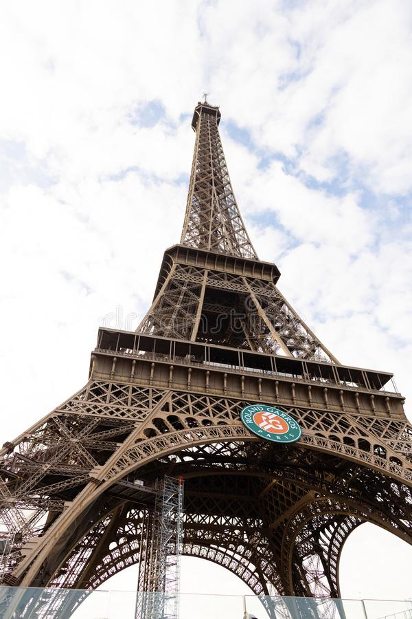 Roland Garros on Eiffel Tower royalty free stock images